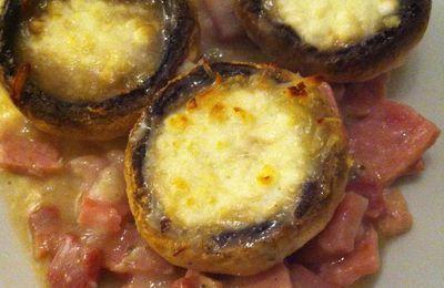 Gratin de champignons de Paris au jambon Dukan
