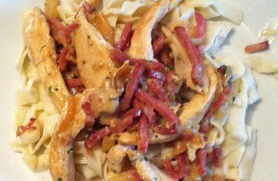 Tagliatelles et poulet à la crème d'oignon et bacon Dukan