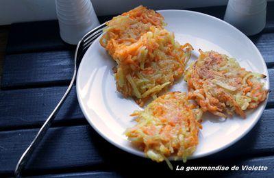 Röstis de pommes de terre, carottes et patate douce