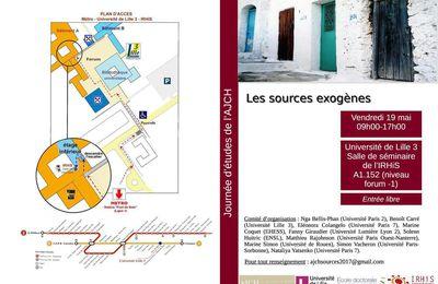 """Une journée d'études de l'Association des Jeunes Chercheurs en Histoire sur """"les sources exogènes"""" organisée à Lille III le 19 mai prochain"""