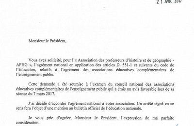 L'APHG reçoit l'agrément du Ministère de l'éducation nationale