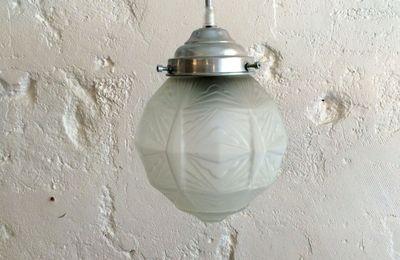 Lampe suspension luminaire abat jour globe en verre art déco