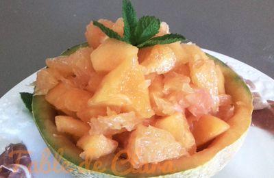Salade melon pamplemousse et jambon de Parme