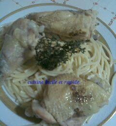 Spaghetti à la sauce.  سباغيتي بالدجاج