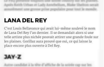 Lana Del Rey au Festival d'Ete de Québec 2018 ?