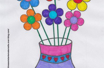 Coloriage Vase et Fleurs