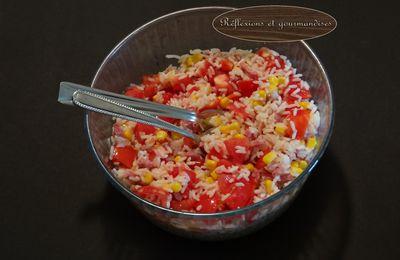 Salade de riz tomate-maïs-bacon