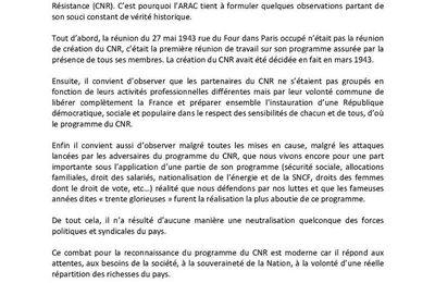Déclaration de l'ARAC suite au message du Président de la République à l'occasion de la journée de la Résistance