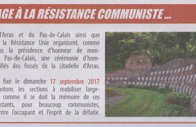 Hommage aux résistants du Pas-de-Calais fusillés à la Citadelle d'Arras