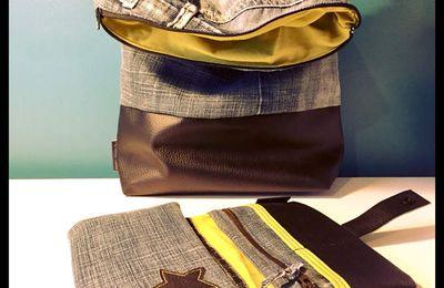 Porte chéquier en jean recyclé et simili