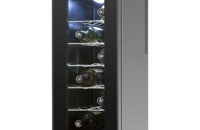 Klarstein Vinamora - Cave à vin réfrigérée de 35 litres pour jusqu'à 12 bouteilles avec éclairage intérieur LED (5 clayettes inox, écran LCD, panneau tactile)