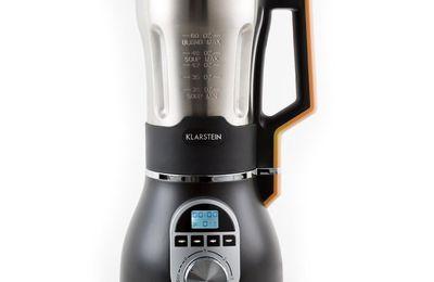 Klarstein Soup-Chef - Mixeur à soupe chauffant pour soupes, sauces, purées, smoothies... (900W, récipient gradué de 1,75L en inox, 4 vitesses, fonctions purée fine et épaisse) - orange