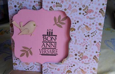Carte anniversaire articulée thème un petit oiseau