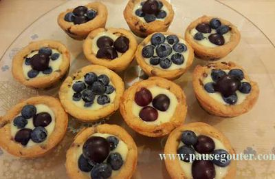 Mini cookie-tartelette cerise et myrtille