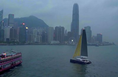 Video – Majestic Lagoon Seventy 7 Sailing at Dusk, in the Hong Kong Bay