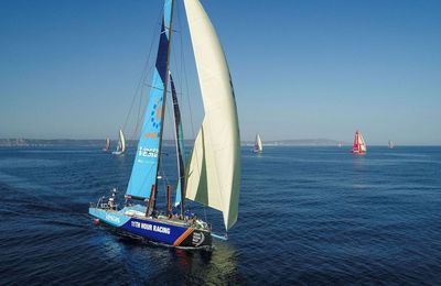 Volvo Ocean Race - the VOR65 fleet heading for start port of Alicante as Prologue is underway