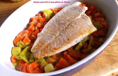 Dos de lieu noir gratin aux brocolis cuisine sans lait - Filet de poisson sur lit de poireaux ...