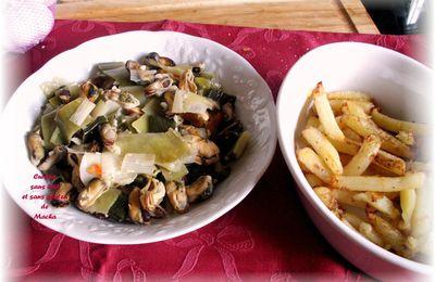 Moules au poireau et frites légères