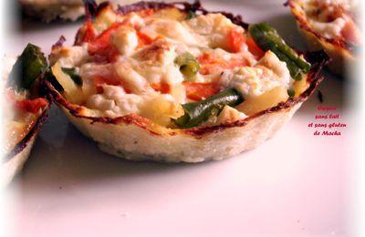 Tartelettes aux légumes et fêta en croûte de pomme de terre râpée