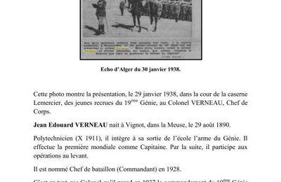 Janvier 1938 : Présentation des Jeunes Recrues au 19 ème Génie.