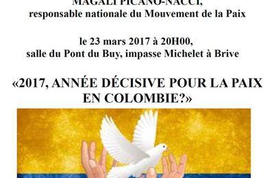 """conférence sur """"la Paix en Colombie, espoirs et craintes"""" le 23 mars"""
