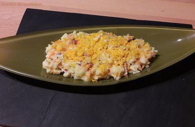 Risotto carottes, lardons et mimolette