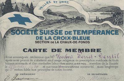 La Chaux-de-Fonds - Société Suisse de Tempérance de la Croix-Bleue - Carte de Membre 1930