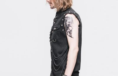 Punk Cowboy Black Sleeveless Tassels Men Casual Blouse