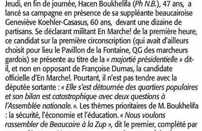 Dans Midi Libre du dimanche 21 mai 2017: BOUKHELIFA lance sa campagne
