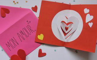 Tuto carterie : réaliser une carte Saint-Valentin pop up , en suivant son pas à pas en image gratuit !