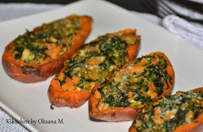 Baked Kumaras with Spinach & Parmesan Filling