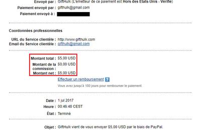 Nouveau paiement reçu de la part de GiftHulk
