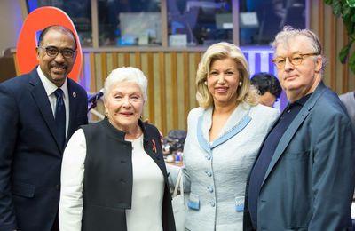 Line Renaud lors de la conférence de l'ONUSIDA