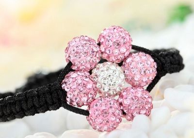 Handmade Shamballa Beads Flower Braided Bracelet