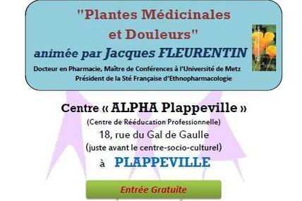 Centre ALPHA Plappeville Conférence Plantes Médicinales et Douleurs le 14 mars