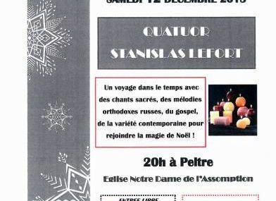 Peltre Concert de Noël le samedi 12 décembre 2015