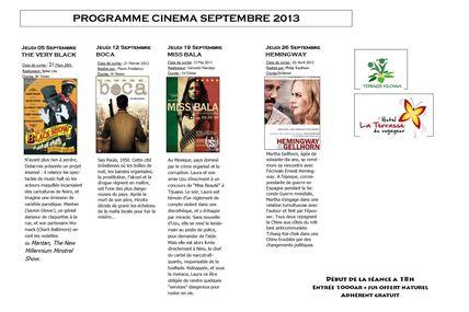 Programme cinéma du mois de septembre