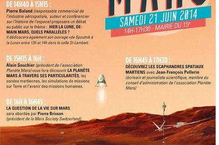 le journaliste Jean-François PELLERIN, donnera une conférence le 21 juin 2014 à la mairie de Paris 15, sur le thème des scaphandres martiens de 16 h 45 à 17 h 30, dans le cadre d'une journée dédiée à l'exploration de la planète Rouge