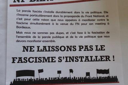 Une manif contre la venue du front national à Bordeaux. Le 2 Avril 15 h Place de la victoire