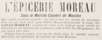 Les Cafés Moreau en 1900 et 1901 à Moulins