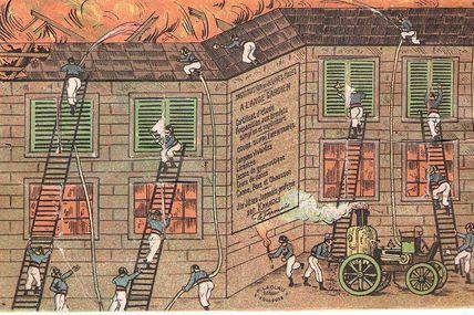carte postale à système pompiers entreprenants