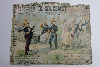 carton publicitaire lithographié manoeuvre de la pompe à bras et pompier à la lance