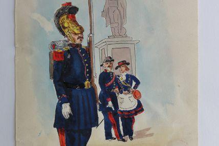 aquarelle originale de Paul Martin : pompiers Alsaciens , les sapeurs pompiers de Strasbourg en 1858