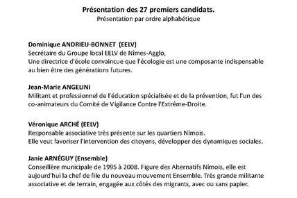INAUGURATION DE LA PERMANENCE ELECTORALE LE 18 JNAVIER 2014 : présentation des 27 premiers noms de la liste