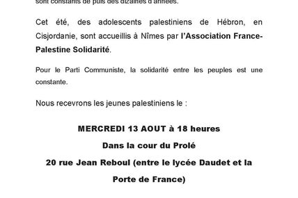 Accueil de jeunes palestiniens au Prolé le 13 août à 18 heures