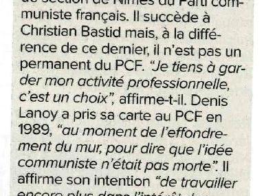 La Gazette de Nîmes : Denis LANOY nouveau secrétaire de Section