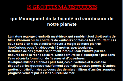 15 grottes majestueuses