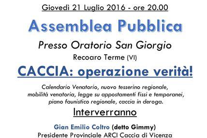 Assemblea pubblica a Recoaro Terme Giovedì 21/07.