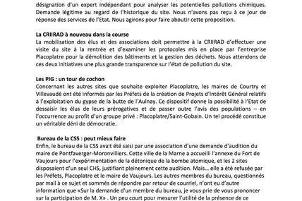 Communiqué de presse : Fort de Vaujours, toujours.