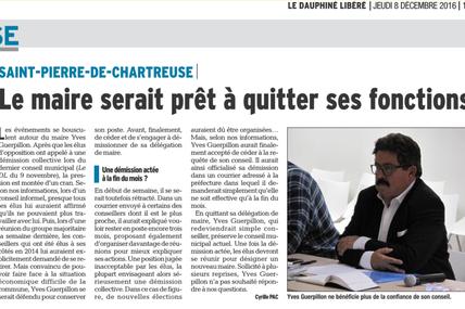 Le Maire aurait démissionné de sa fonction le 7 décembre  (Dauphiné Libéré du 08/12/2016)